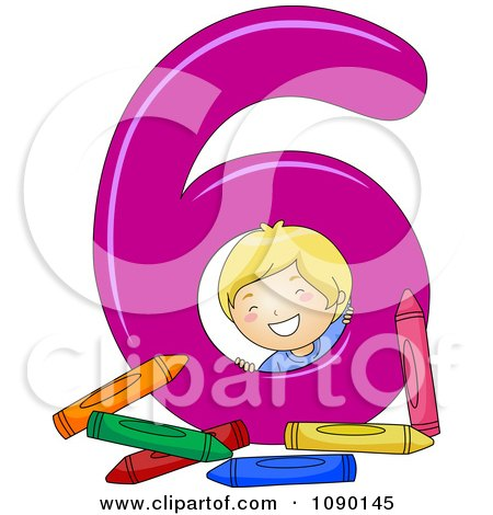 Clipart School Boy With Six Crayons By Number 6 - Royalty Free Vector Illustration by BNP Design Studio