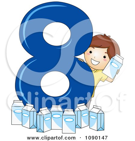 Clipart School Boy With Eight Milk Cartons By Number 8 - Royalty Free Vector Illustration by BNP Design Studio