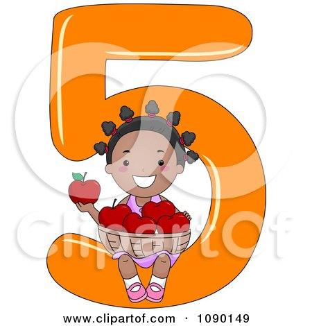 Clipart Black School Girl Holding Five Apples On Number 5 - Royalty Free Vector Illustration by BNP Design Studio
