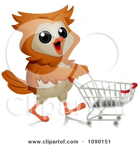 Clipart Shopper Owl Pushing A Grocery Cart - Royalty Free Vector Illustration by BNP Design Studio
