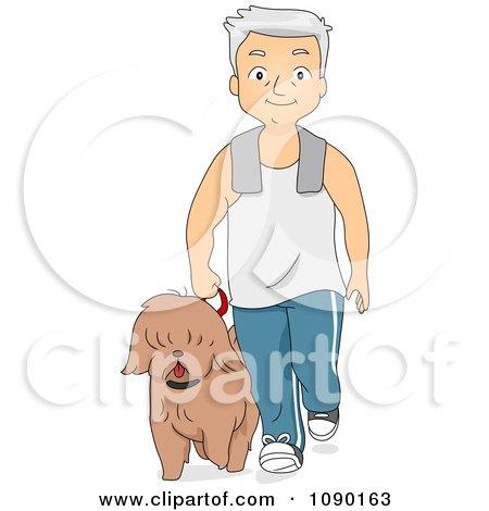 Clipart Fit Senior Man Walking His Dog - Royalty Free Vector Illustration by BNP Design Studio