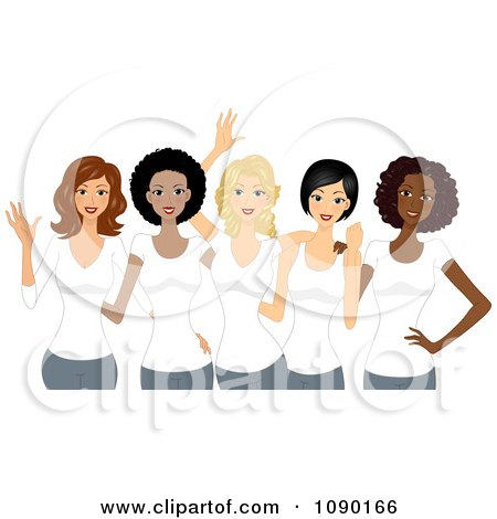 Clipart diverse ladies wearing white t shirts on International Womens Day - Royalty Free Vector Illustration by BNP Design Studio