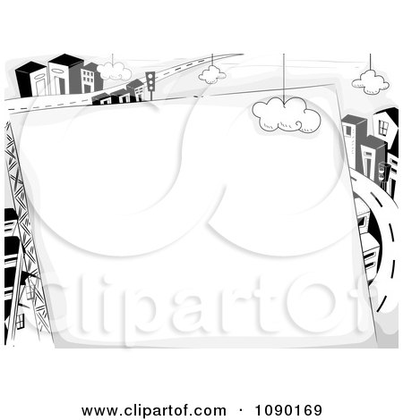 Clipart Blank Sign Against A Highway And Urban City - Royalty Free Vector Illustration by BNP Design Studio