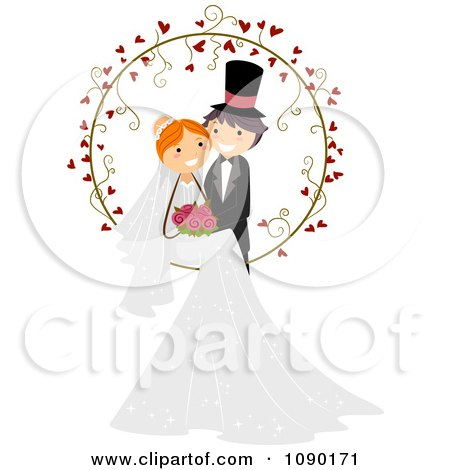 Clipart Wedding Couple Posing In A Heart Vine Ring - Royalty Free Vector Illustration by BNP Design Studio