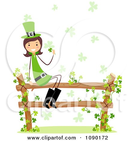 Clipart Female St Patricks Day Leprechaun Sitting On A Fence With Clover Vines Royalty Free Vector Illustration