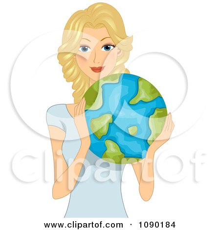 Clipart Pretty Blond Woman Holding Earth - Royalty Free Vector Illustration by BNP Design Studio