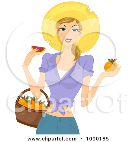 Clipart Summer Woman Holding A Basket And Eating A Fresh Grapefruit - Royalty Free Vector Illustration by BNP Design Studio