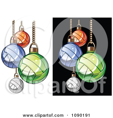 Clipart Colorful Volleyball Christmas Ornaments - Royalty Free Vector Illustration by Chromaco