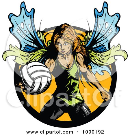 Clipart Female Fairy Playing Volleyball - Royalty Free Vector Illustration by Chromaco