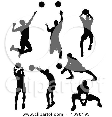 Clipart Silhouetted Male Volleyball Players - Royalty Free Vector Illustration by Chromaco