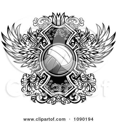 Clipart Ornate Winged Volleyball - Royalty Free Vector Illustration by Chromaco