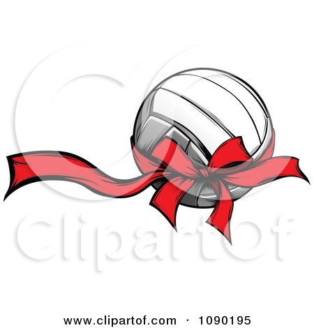 Clipart Volleyball With A Red Ribbon And Bow - Royalty Free Vector Illustration by Chromaco