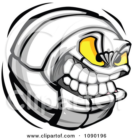 Clipart Aggressive Volleyball Character - Royalty Free Vector Illustration by Chromaco
