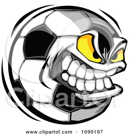 Clipart Aggressive Soccer Ball Character - Royalty Free Vector Illustration by Chromaco