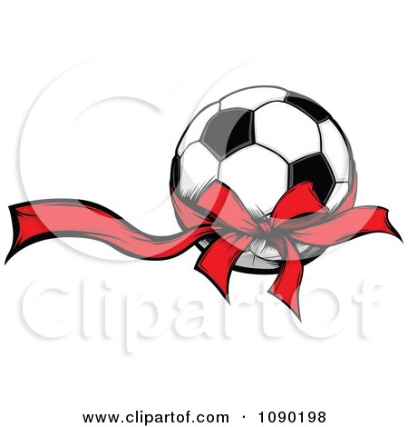 Clipart Soccer Ball With A Red Ribbon And Bow - Royalty Free Vector Illustration by Chromaco