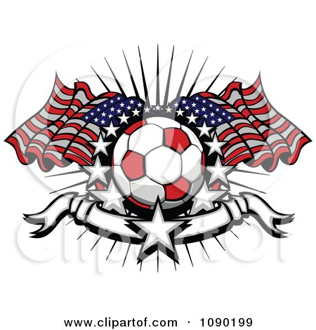 Clipart Soccer Ball Over American Flags With Stars And A Banner - Royalty Free Vector Illustration by Chromaco