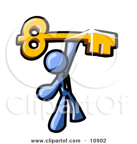 Excited Blue Businessman Holding up a Large Golden Skeleton Key Clipart