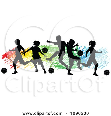 Clipart Silhouetted Children Playing Soccer Over Colorful Scribbles - Royalty Free Vector Illustration by Chromaco