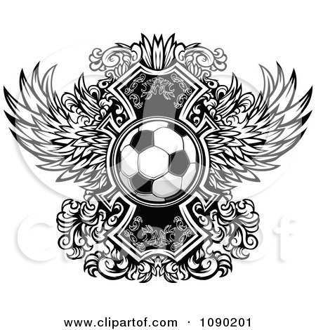 Clipart Soccer Ball Over Ornate Wings - Royalty Free Vector Illustration by Chromaco
