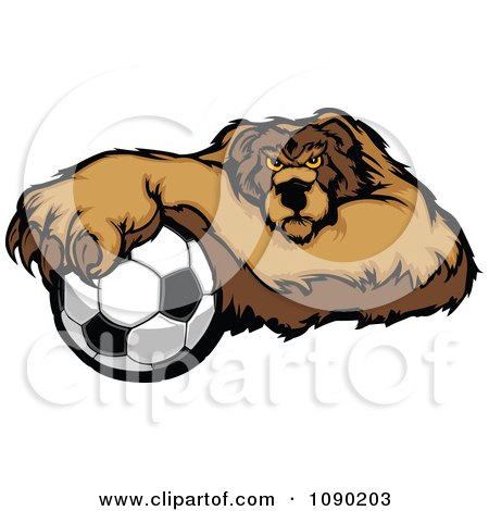 Clipart Soccer Bear Mascot Resting One Paw On A Ball - Royalty Free Vector Illustration by Chromaco