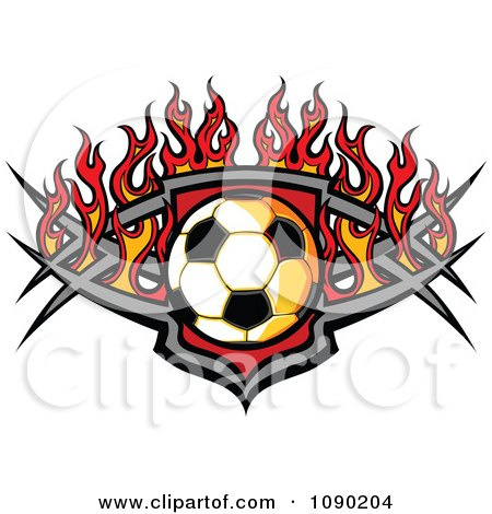 Soccer Ball Over A Tribal Badge And Flames Posters, Art Prints