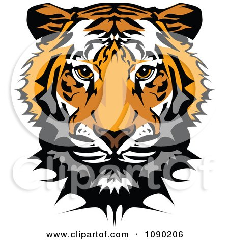 Clipart Cute Tiger Mascot Head - Royalty Free Vector Illustration by Chromaco