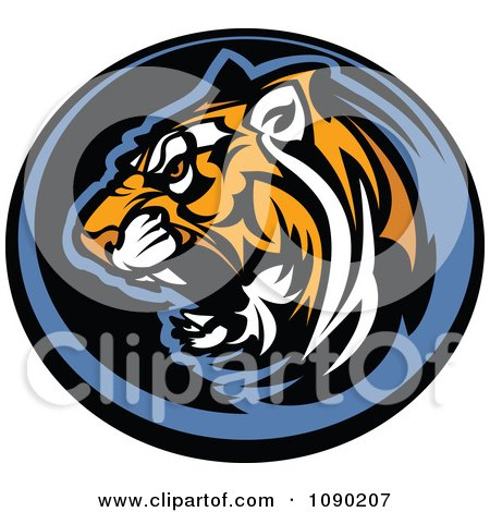 Clipart Aggressive Tiger Mascot Circle - Royalty Free Vector Illustration by Chromaco
