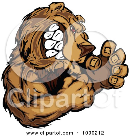 Clipart Fighting Bear Mascot - Royalty Free Vector Illustration by Chromaco