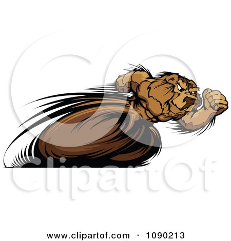 Clipart Fast Track And Field Bear Mascot Sprinting - Royalty Free Vector Illustration by Chromaco