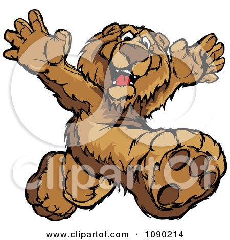 Clipart Bear Mascot Running Upright - Royalty Free Vector Illustration by Chromaco