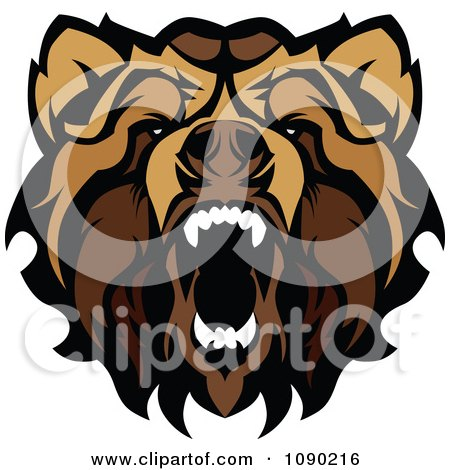Aggressive Grizzly Bear Mascot Grizzly Bear Face Logo