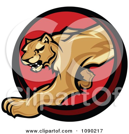 Clipart Prowling Cougar Mascot Circle - Royalty Free Vector Illustration by Chromaco
