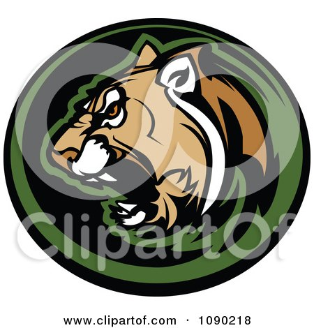 Clipart Aggressive Cougar Mascot Circle - Royalty Free Vector Illustration by Chromaco