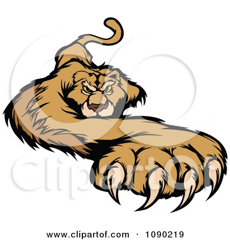 Clipart Attacking Cougar Mascot With A Paw Stretched Outwards - Royalty Free Vector Illustration by Chromaco