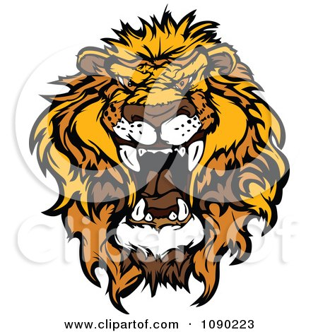 Clipart Mad African Lion Mascot Head - Royalty Free Vector Illustration by Chromaco