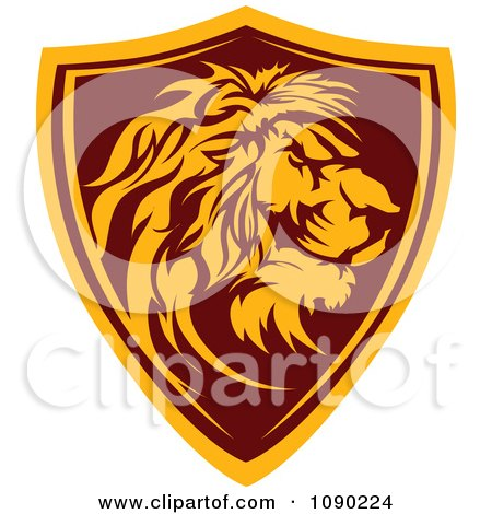 Clipart Profiled Lion Mascot Shield Badge - Royalty Free Vector Illustration by Chromaco