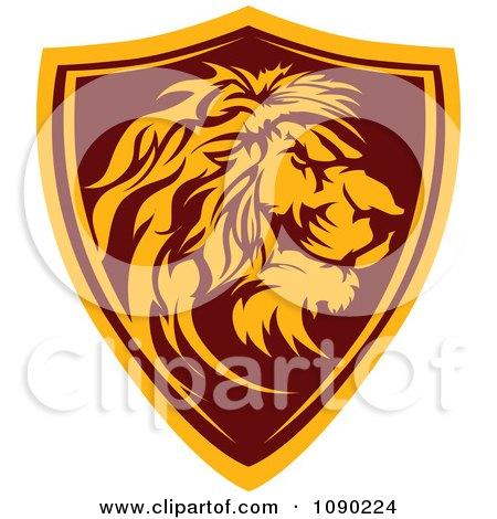 Profiled Lion Mascot Shield Badge Posters, Art Prints