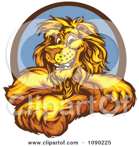 Clipart Smiling Lion Mascot With Crossed Arms - Royalty Free Vector Illustration by Chromaco