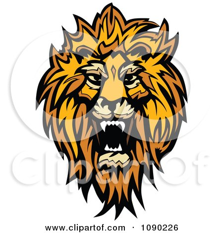 Clipart Roaring African Lion Mascot Head - Royalty Free Vector Illustration by Chromaco