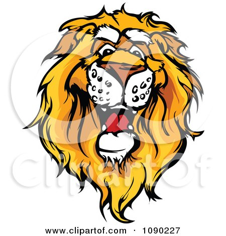 Clipart Friendly African Lion Mascot Head - Royalty Free Vector Illustration by Chromaco