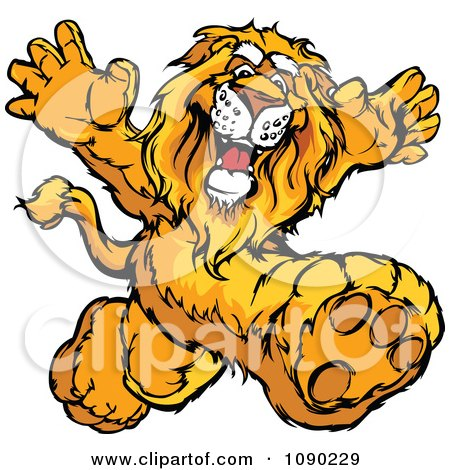 Clipart Lion Mascot Running Upright - Royalty Free Vector Illustration by Chromaco