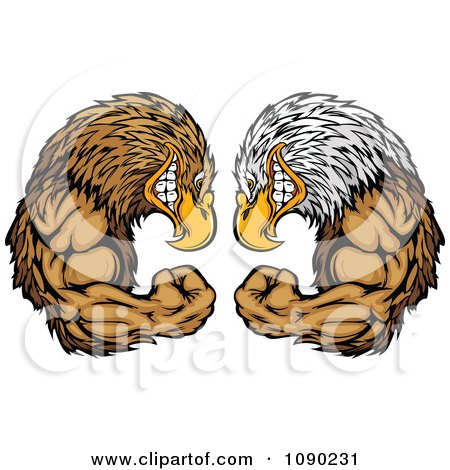 Clipart Bald Eagle And Falcon Mascots Facing Off - Royalty Free Vector Illustration by Chromaco
