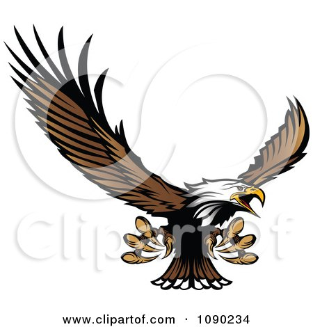 Clipart Bald Eagle Mascot Flying And Reaching With Claws - Royalty Free Vector Illustration by Chromaco