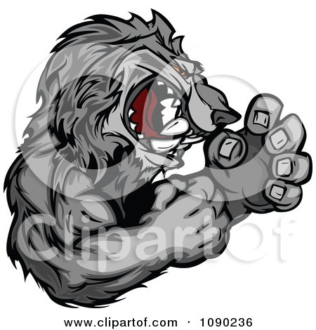 Clipart Fighting Gray Wolf Mascot - Royalty Free Vector Illustration by Chromaco