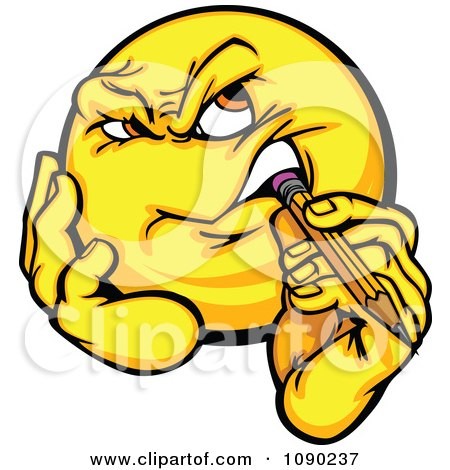 Clipart Emoticon Thinking And Biting A Pencil - Royalty Free Vector Illustration by Chromaco