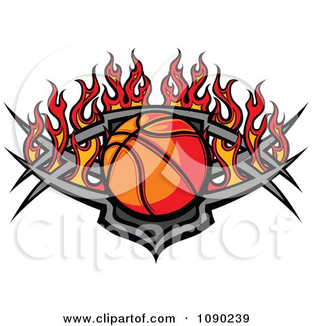 Clipart Basketball Over A Tribal Shield And Flames - Royalty Free Vector Illustration by Chromaco