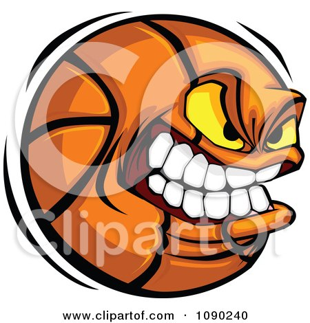 Clipart Aggressive Basketball Character - Royalty Free Vector Illustration by Chromaco