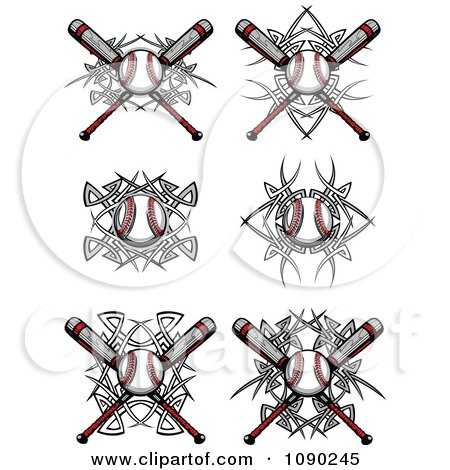 Clipart Tribal Baseballs And Bats - Royalty Free Vector Illustration by Chromaco