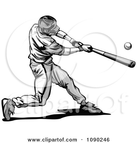 Clipart Grayscale Baseball Player Swinging - Royalty Free Vector Illustration by Chromaco
