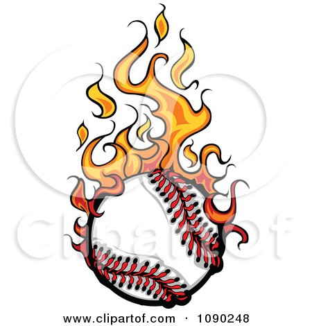 Clipart Baseball Engulfed In Flames - Royalty Free Vector Illustration by Chromaco